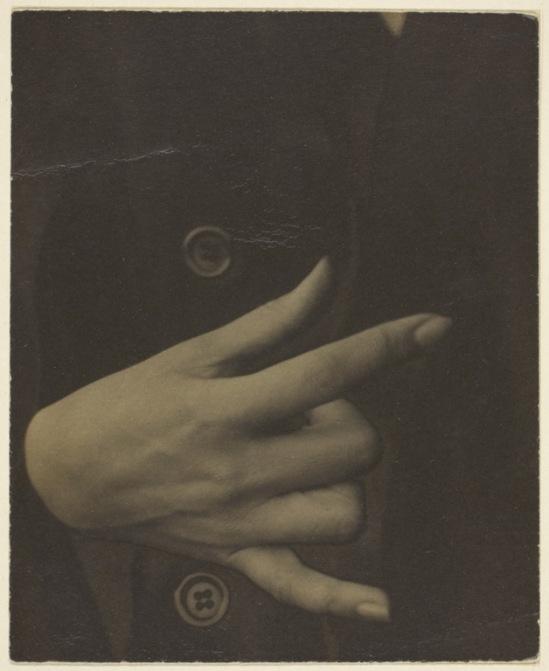 Alfred Stieglitz- Georgia O'Keeffe - Hand, 1918  Palladium print, solarized