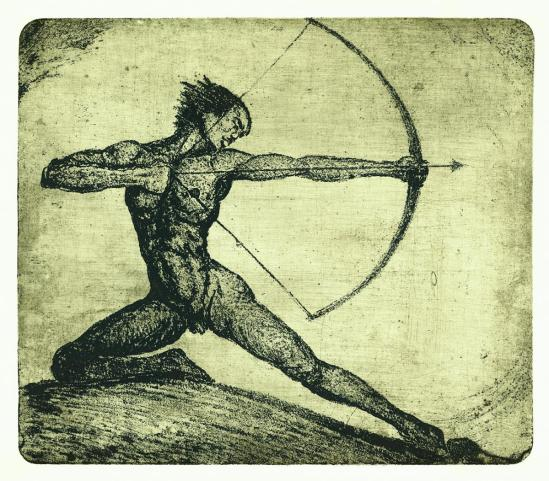 František Drtikol- Untitled ( archer I) etching, 1910-20