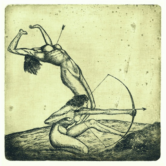 František Drtikol- Untitled ( archer II) etching, 1910-20