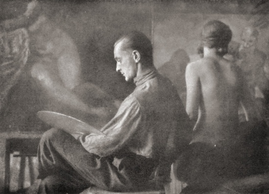 Franz Fiedler- Painter with model Dresden, 1920s(bromoil)