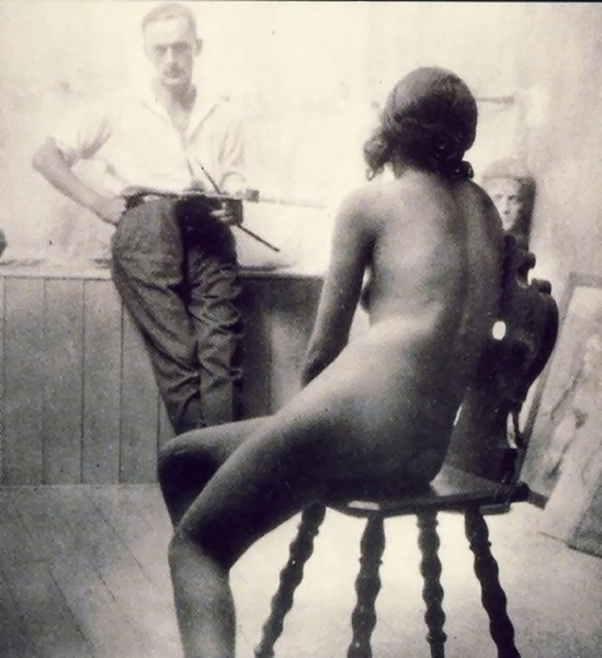 Franz Fiedler -Selportrait with a Model, 1930