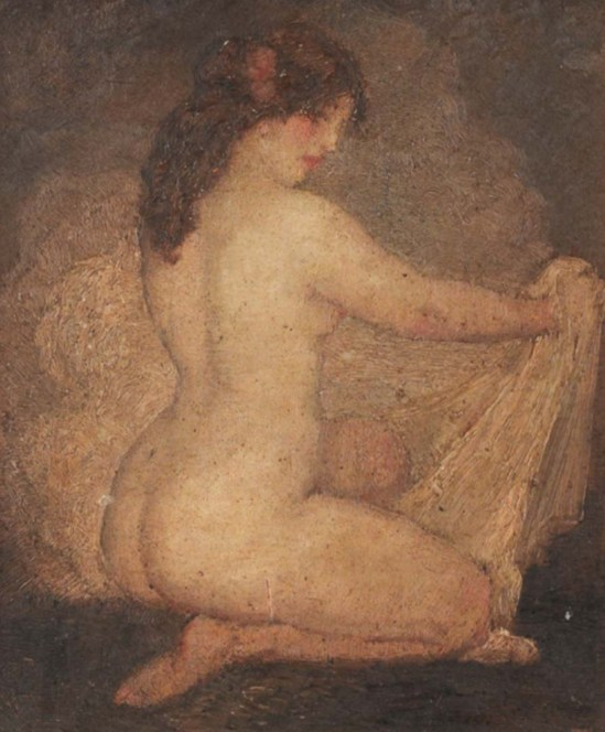 Norman Lindsay (1879-1969) After The Bath, nude holding a shawl,oil