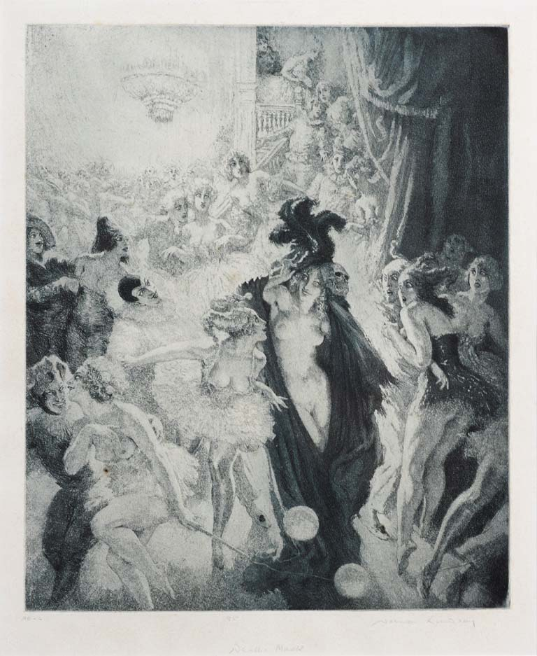 Norman Lindsay (1879-1969) Death's Mask, 1937  aquatint, etching and stipple,