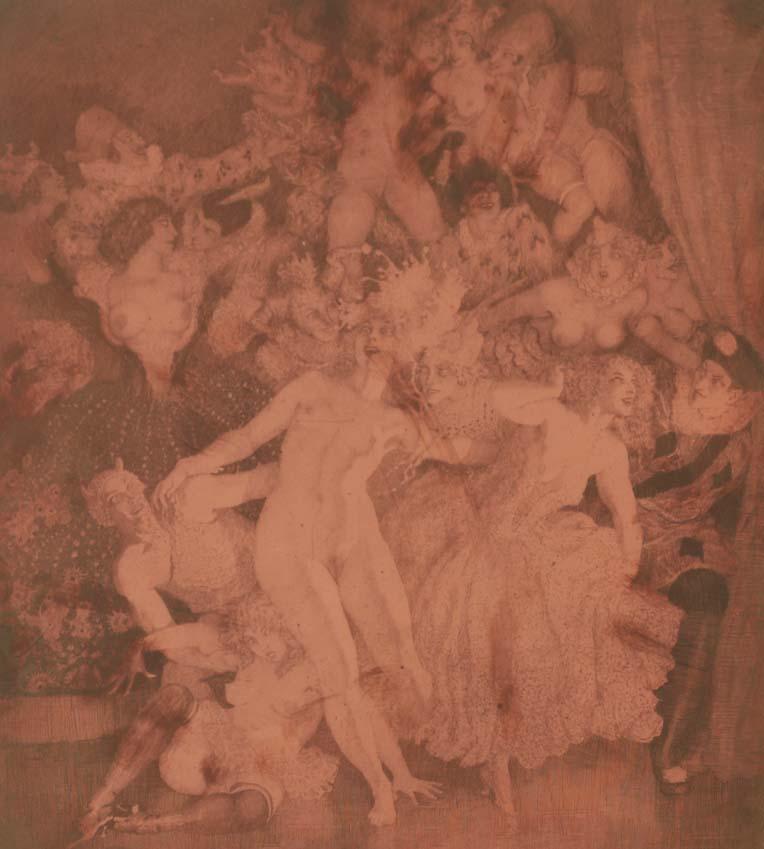 Norman Lindsay (1879-1969) Escapade 1927  etched copper plate