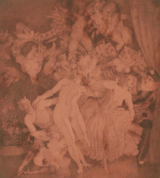 Norman Lindsay (1879-1969) Escapade 1927  etched copper plate