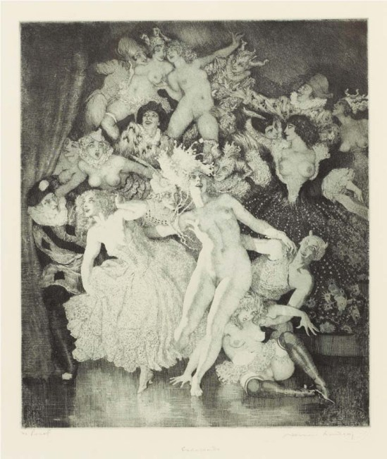 Norman Lindsay (1879-1969) Escapade 1978  facsimile etching, proof,