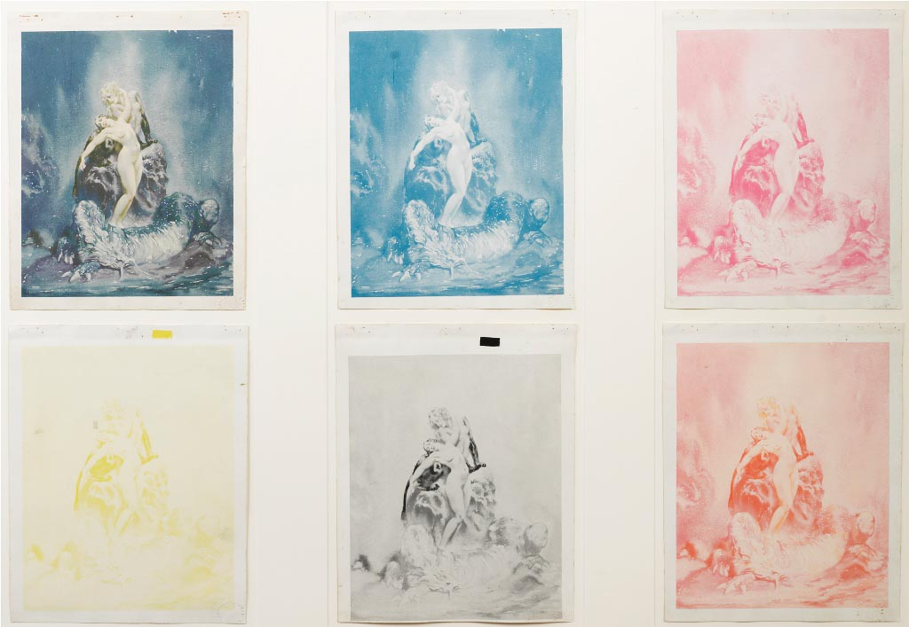 Norman Lindsay (1879-1969) Guarded 1933  six framed printers progress proofs, impressed stamp l.r.c. Hartland and Hyde