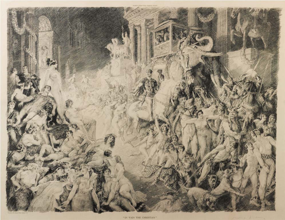 Norman Lindsay (1879-1969) In Vain the Christian c.1927  engraving on paper, printed by the Chiswick Press