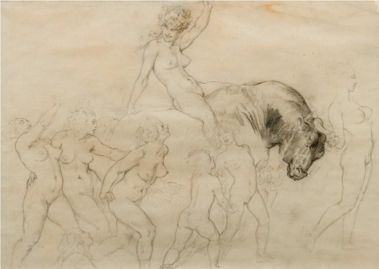Norman Lindsay (1879-1969) Procession of the Bull 1934  pencil on paper