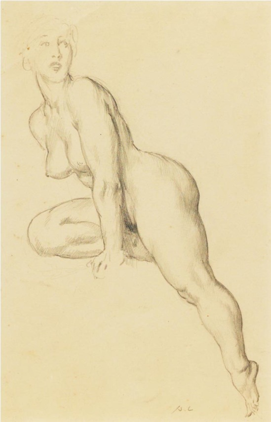 Norman Lindsay (1879-1969) Sketch of Model Leaning c. 1949  pencil on paper
