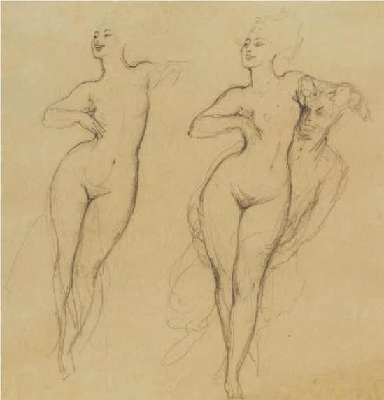 Norman Lindsay (1879-1969) Two Studies c. 1928  pencil on paper,