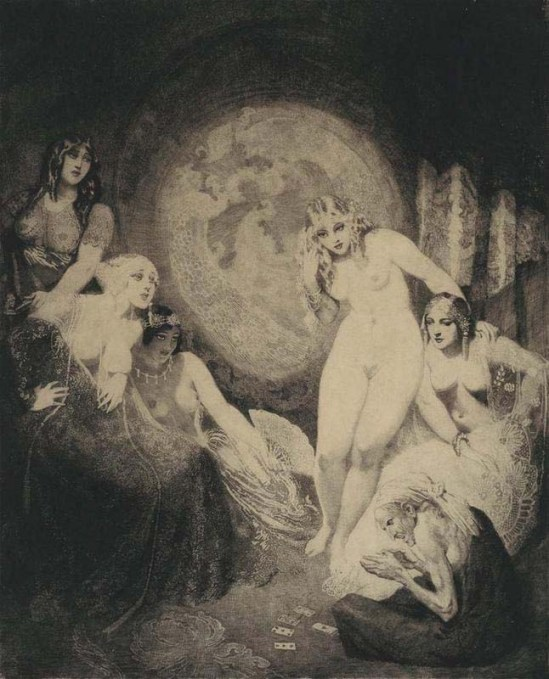 Norman Lindsay -Beauty's Fortune 1920 Etching, engraving, aquatint and stipple