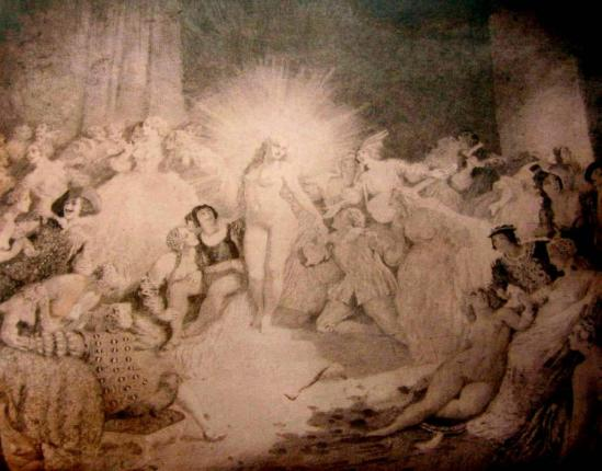Norman Lindsay - Life in the Temple 1937 Etched copper plate