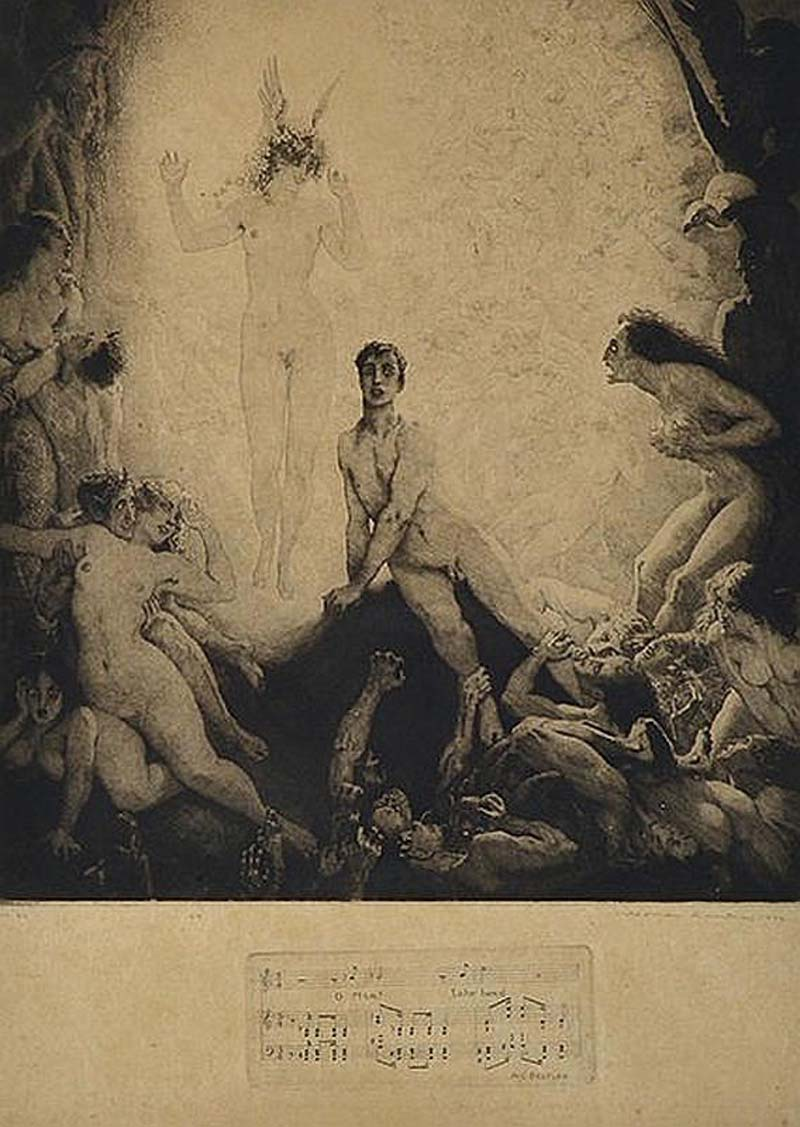 Norman Lindsay - O Man Take Heed ,1922 Etching, engraving, stipple and roulette