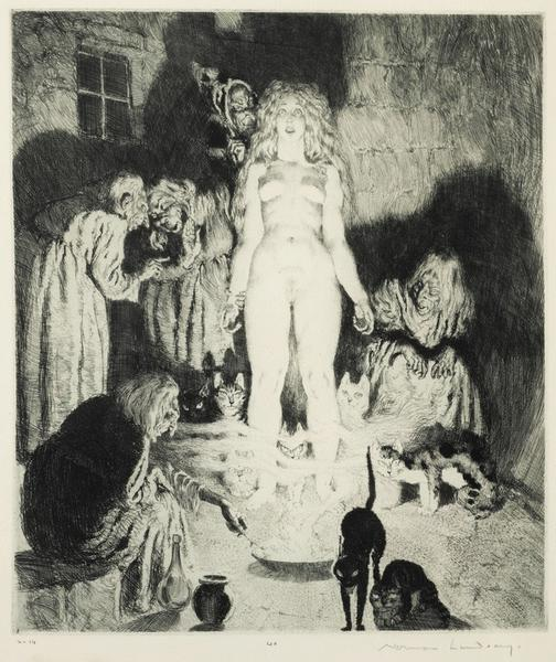 Norman Lindsay -The Little Witch 1937 Etching, engraving and stipple