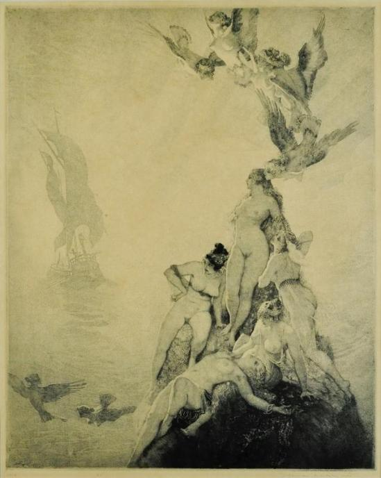 Norman Lindsay -Unknown Seas,' 1922 Etching