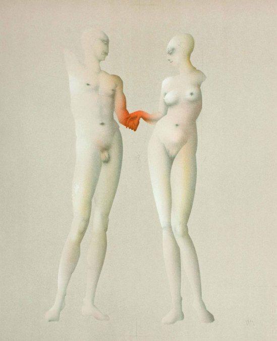 Paul Wunderlich -Adam und Eva (nach Ingres), 1981
