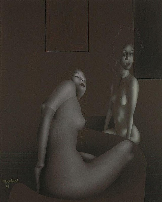 Paul Wunderlich-  Daniela and Ulrike,  gouache, 1971