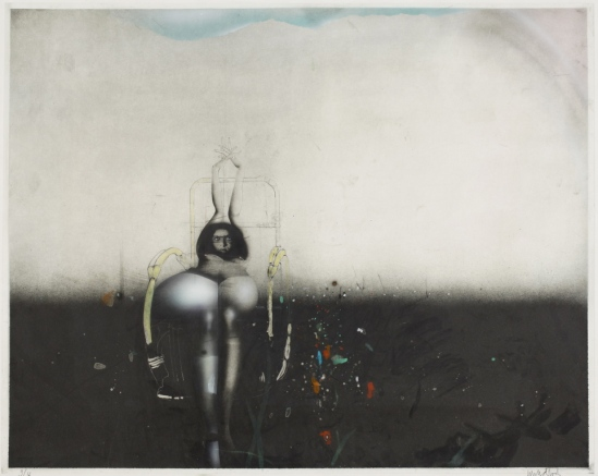 Paul Wunderlich -Schwarse Wiese , Etching with handcolouring , 1972