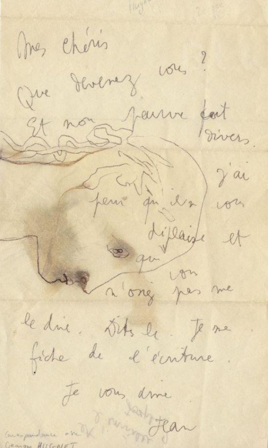 Jean Coteau -  Lettre autographe signée à l'écrivain surréaliste Georges Hugnet, enrichie d'un dessin à l'encre noire représentant un visage de profil, nd