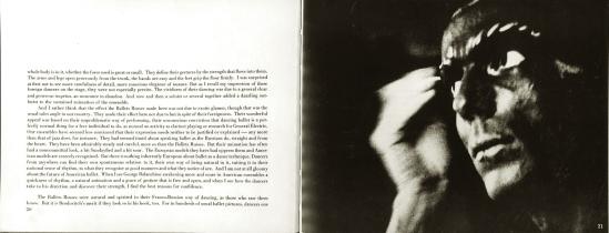 Alexey Brodovitch Ballet première planche, accompagnée du texte montrant les couliises et les préparatifs ( ballets russes par exemple)