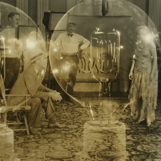 """Electrical illusion of director Jack Conway, filming a scene of Bessie Love, Metro-Goldwyn-Mayer dancing and singing star."" 1930"