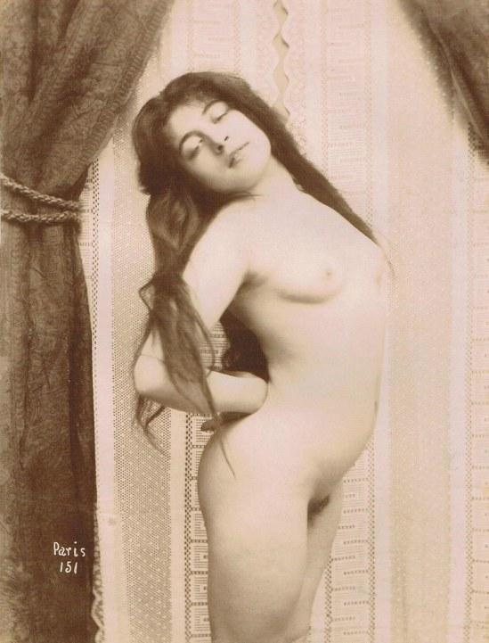 Henri Oltramare- Nu au cheveux longs, vintage, épreuve au citrate, 1900