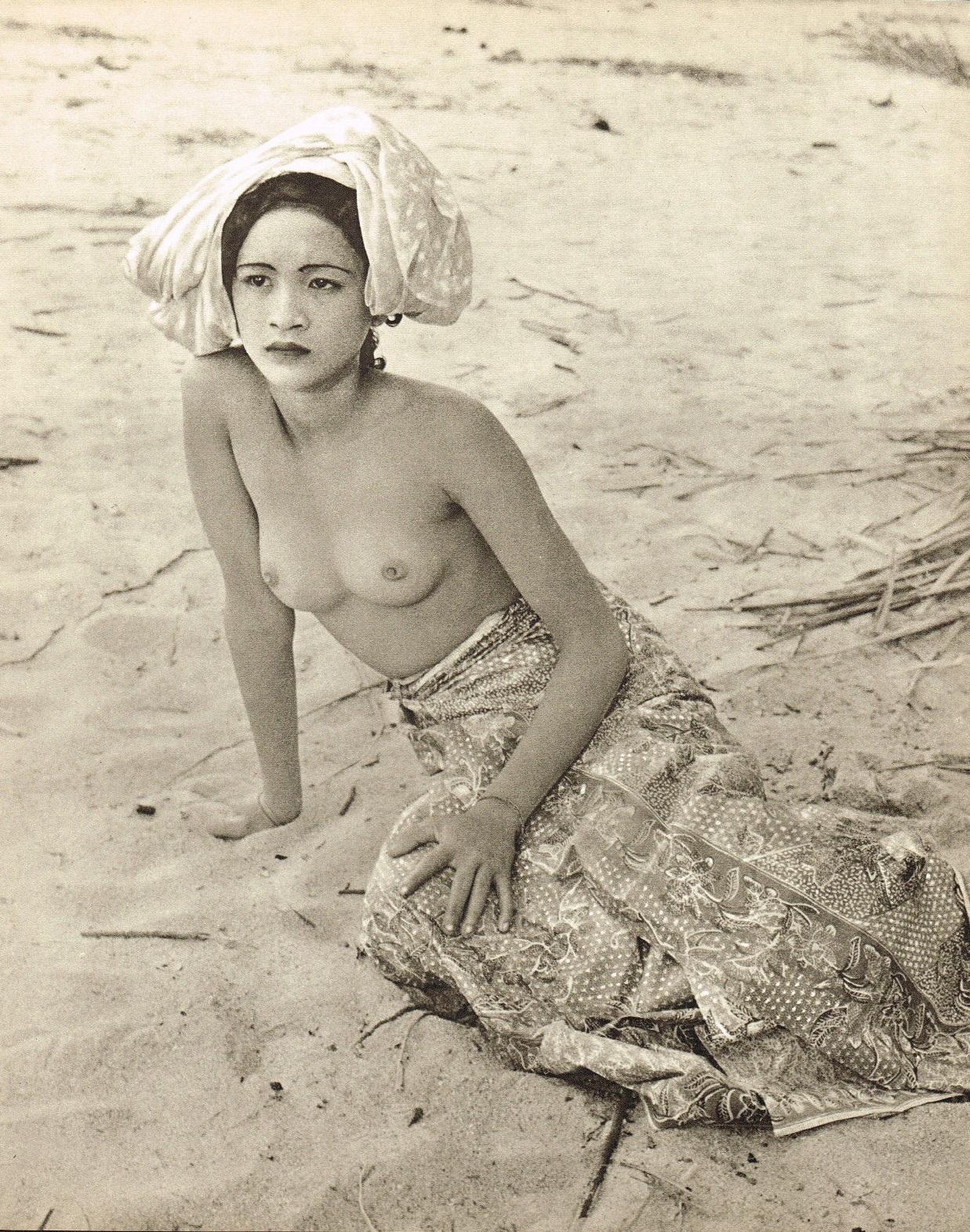 John Everard- Malay woman semi nude ,photogravure 1950 Oriental Model Published by Robert Hale Ltd., London in 1955.