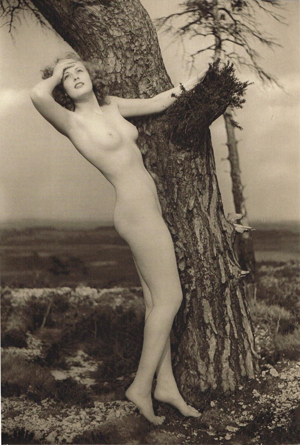 John Everard -Study of Nude (Nude Lady Landscape) photogravure 1940 1