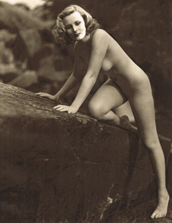 John Everard -Study of Nude Nude (Lady on Rocks), photogravure 1940