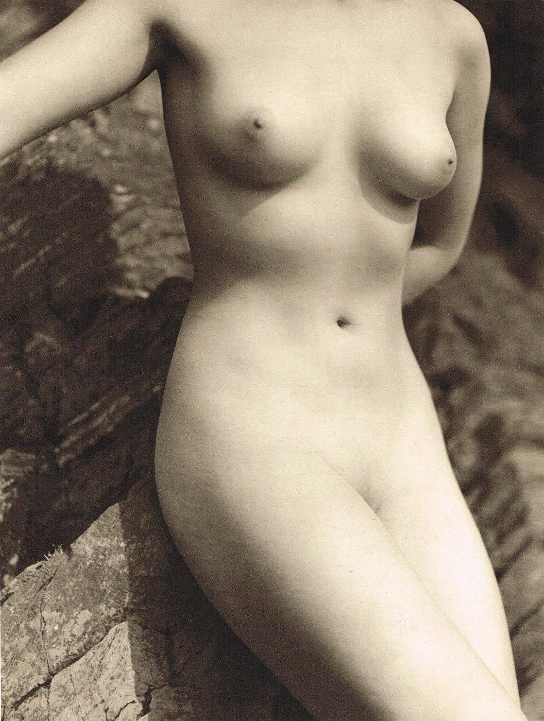 John Everard -Study of Nude (Nude Lady on Rocks ), photogravure 1940