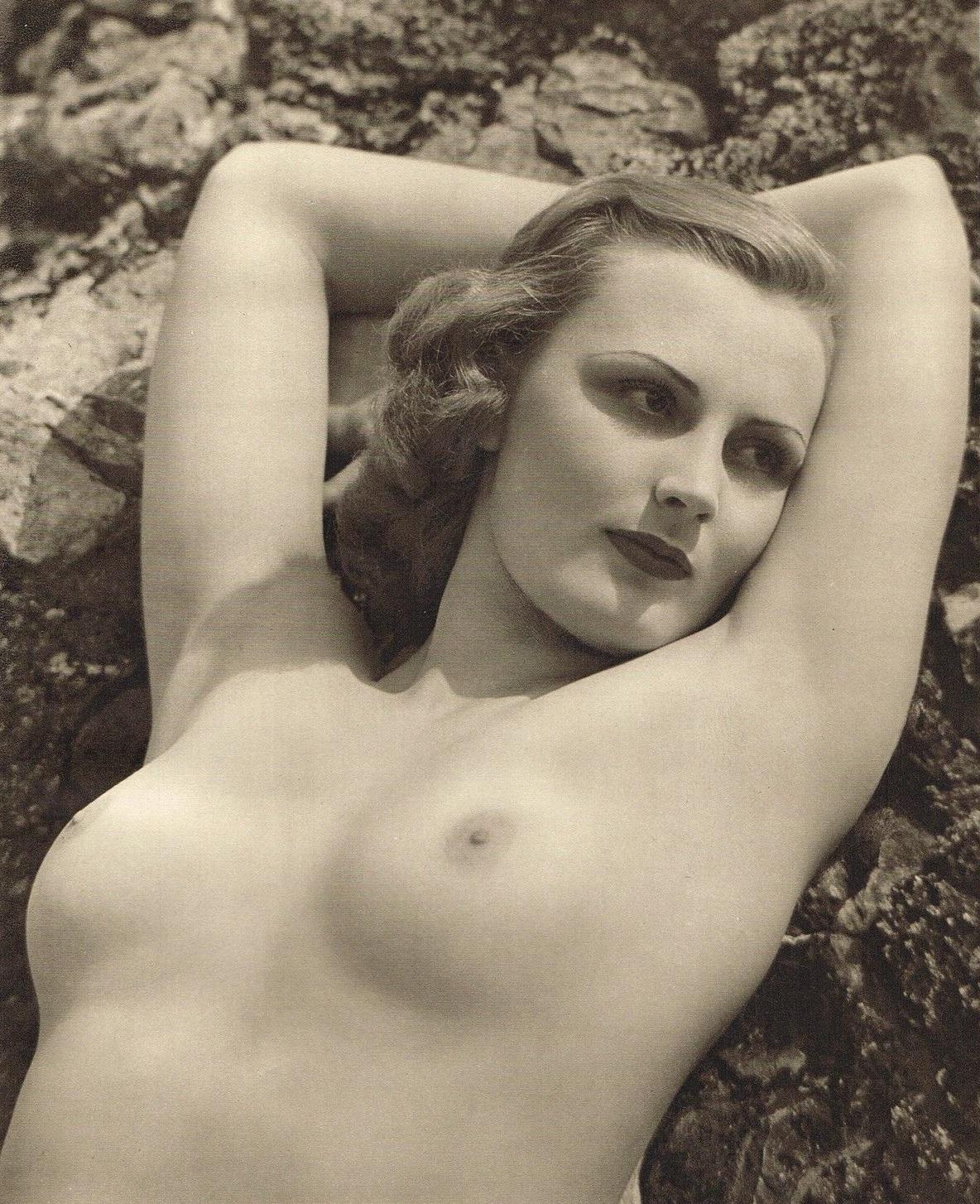 John Everard -Study of Nude (Nude Lady on Rocks) photogravure 1940