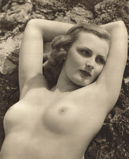 John Everard -Study of Nude (Nude Lady on Rocks) photogravure 1940