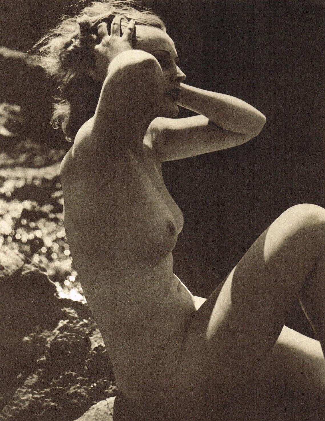 John Everard -Study of Nude (Nude Lady Water Rocks) photogravure 1940