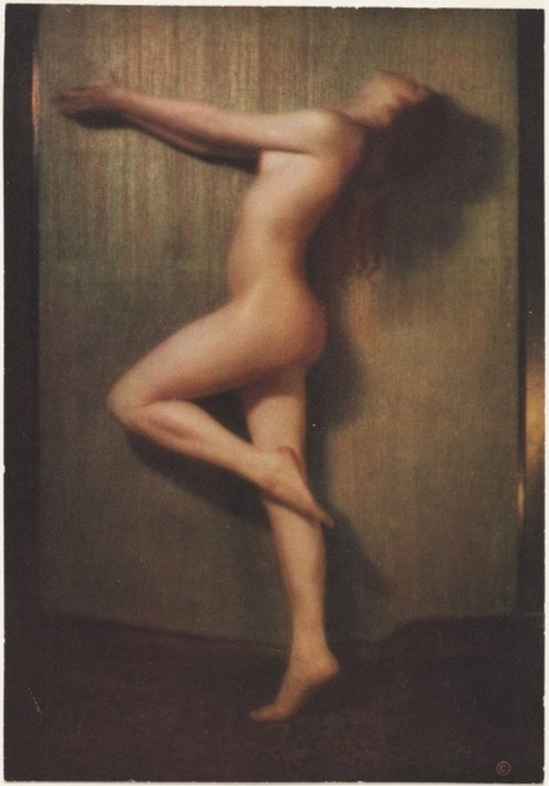 Karl F. Struss- Untitled, From the Series, The Female Figure (Nude in Profile with Arms Outstretched), 1917  published in 48 photographs of the female