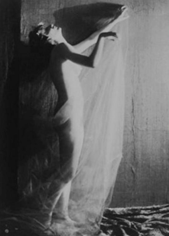 Karl Struss-Standing Nude in Chiffon Draperies- 1915