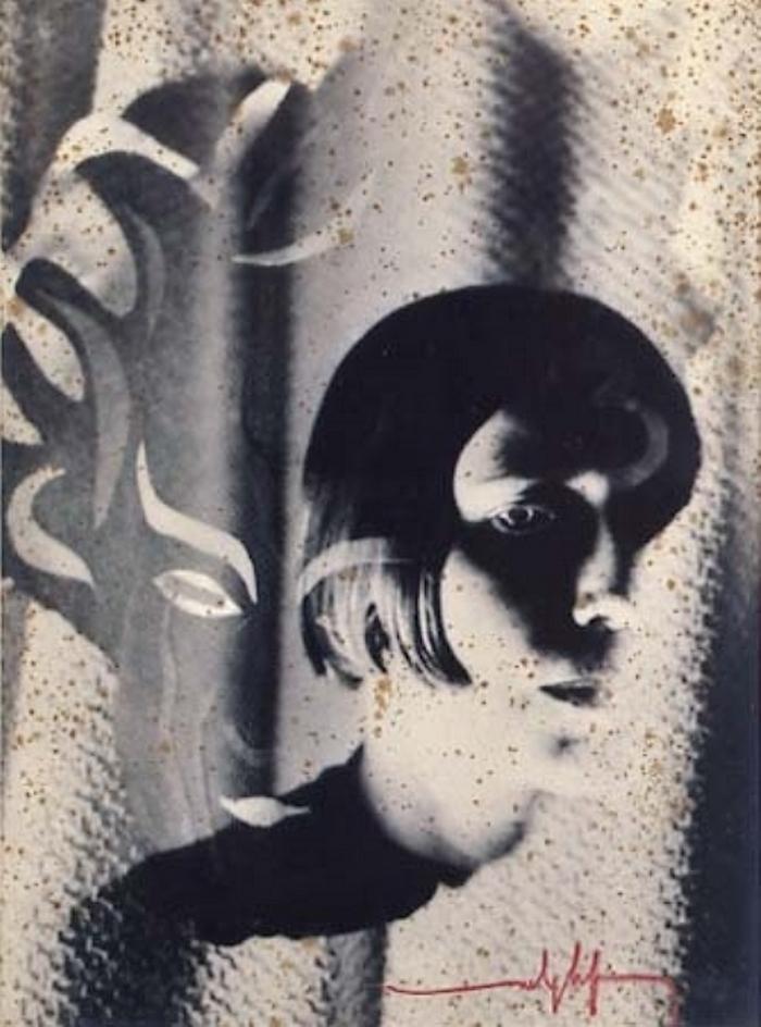 Marcel G. Lefrancq - Portrait d'Akarova, 1938 Photomontage Akarova et le masque du diable dans l'histoire du soldat (Stravinsky) 1935