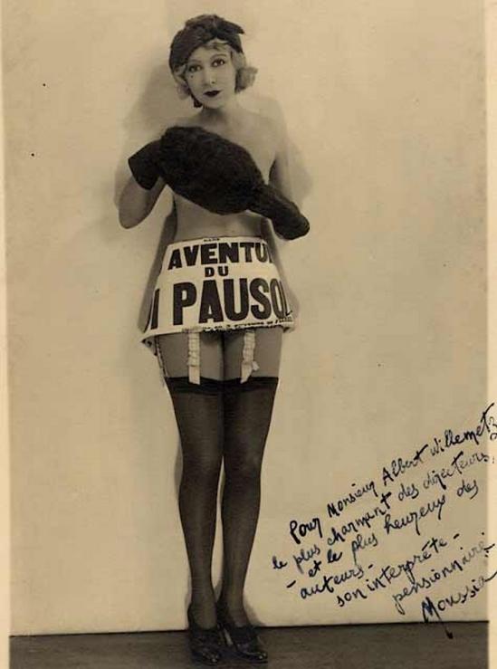 Mme Moussia (Moussia Xenia Martine Bielinnko ep Breteuil) pour Les aventures du Roi Pausole, Théâtre des Bouffes Parisiens, 1931 dedicace à  Albert Willemetz