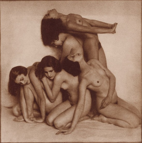 Rudolf Koppitz- Group nude, before 1924, Bromoil print