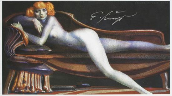 Ernst Fuchs -Akt auf Chaisselonge, technique  Giclée , 1977 Galerie-F
