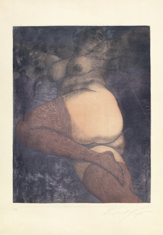 Ernst Fuchs- Im Bett (die Große Nana) Dans le lit (la Grande Nana), 1972