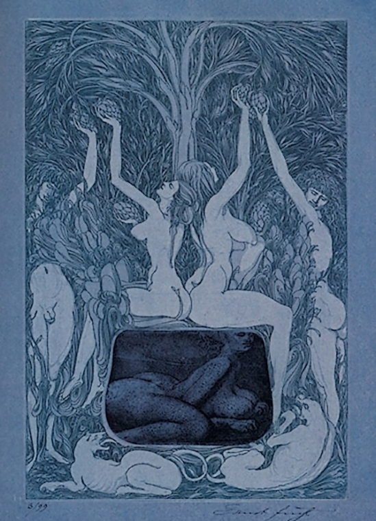 Ernst Fuchs -in the sheets of the night, etching,  1966