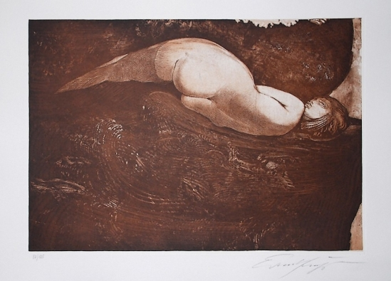Ernst Fuchs -Nixe colour etching and aquatint, 1991  Galerie-F