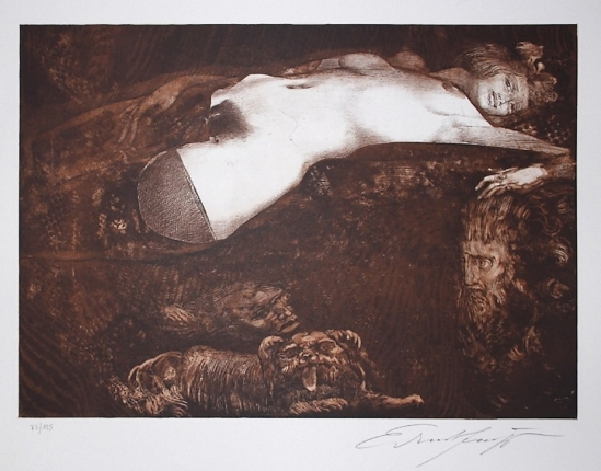 Ernst Fuchs -Salomé  colour etching and aquatint, 1991  Galerie-F