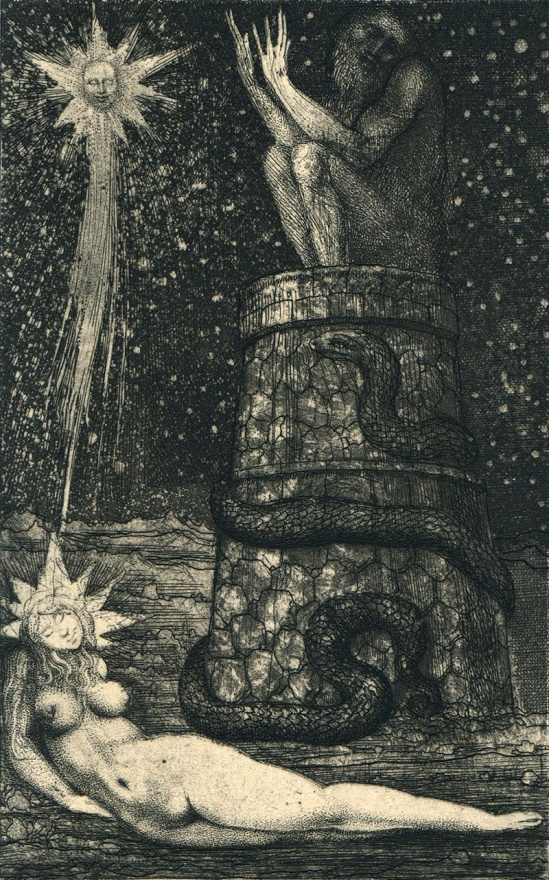 Ernst Fuchs  - The Star  - Etching for Die Symbolik des Traumes Belser Verlag, Stuttgart; Limited Edition (1968)