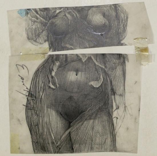 Ernst Fuchs - Weiblicher Torso , nd dessin au crayon (Galerie-F)