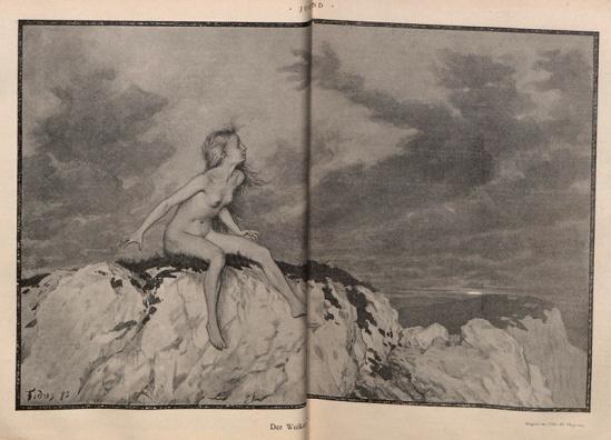 Hugo Höppener (Fidus)- Der Wolken[...] from jugend magazine 1896,  Band 1 (Nr. 1-26), page 60-61
