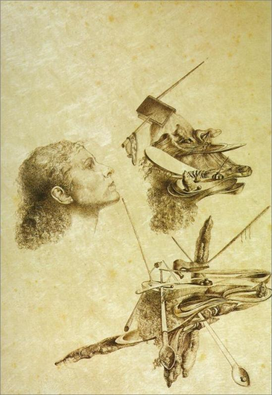 Salvador Dalí, Metamorfosis paranoica del rostro de Gala, 1932