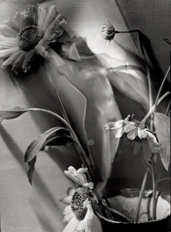 Studio Manassé- Photomontage with nude and flowers. Circa 1935