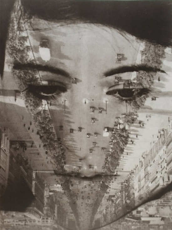 Aenne Biermann- Untitled (photomontage with portrait of Anneliese Schiesser and view of Paris), 1929